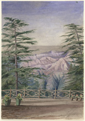 View of the mountains, Simla (Punjab States) from the veranda of Major Innes's house. 18 November 1868